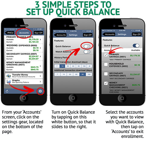 There's 3 smartphones side by side showing the steps to enable Quick Balance. Below each picture is text describing each step. The first box says
